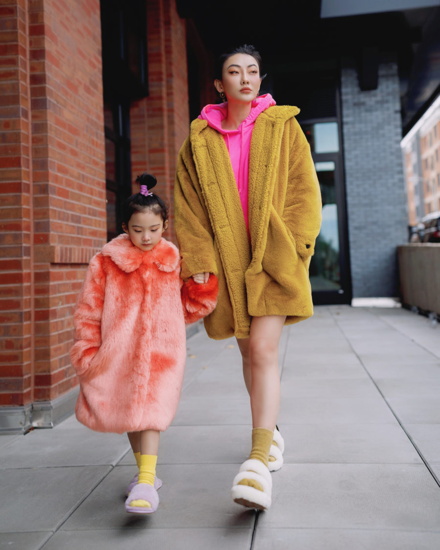 jessica wang wears a yellow faux fur coat with white faux fur slippers // Jessica Wang - Notjessfashion.com