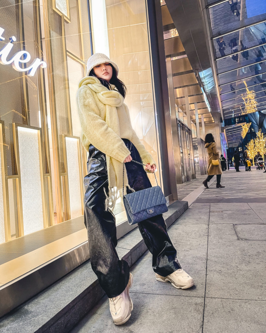 casual chic outfits with faux leather pants and sneakers // Jessica Wang - Notjessfashion.com