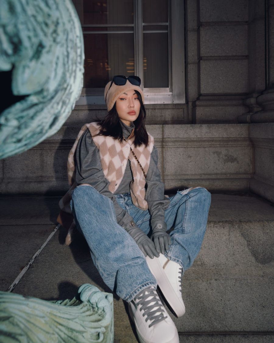 jessica wang wearing trendy fashion with a check vest baggy jeans and p448 platform sneakers // Jessica Wang - Notjessfashion.com