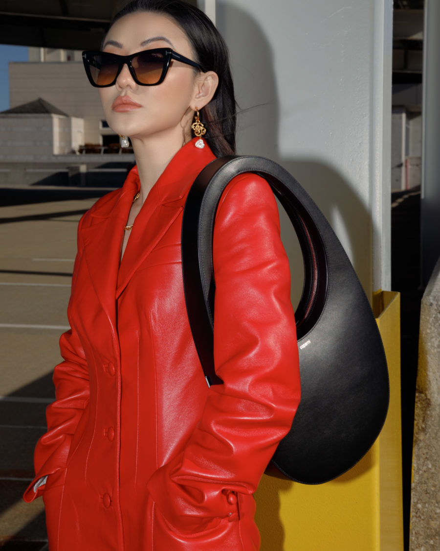 jessica wang wearing a modern lunar new year look with a red coat from luisaviaroma // Jessica Wang - Notjessfashion.com