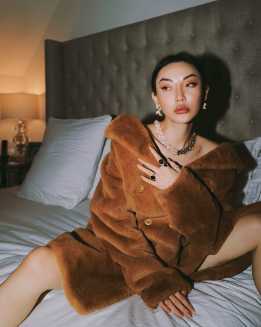 jessica wang wearing a faux fur coat and sharing her favorite zoom friendly accessories // Jessica Wang - Notjessfashion.com