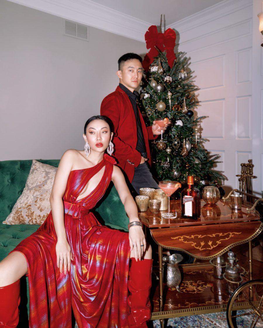 jessica wang and her husband sharing matching couple outfit ideas in red // Jessica Wang - Notjessfashion.com