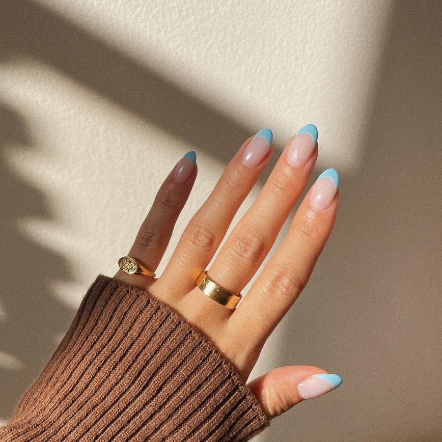 baby blue french tip nail trends // Jessica Wang - Notjessfashion.com