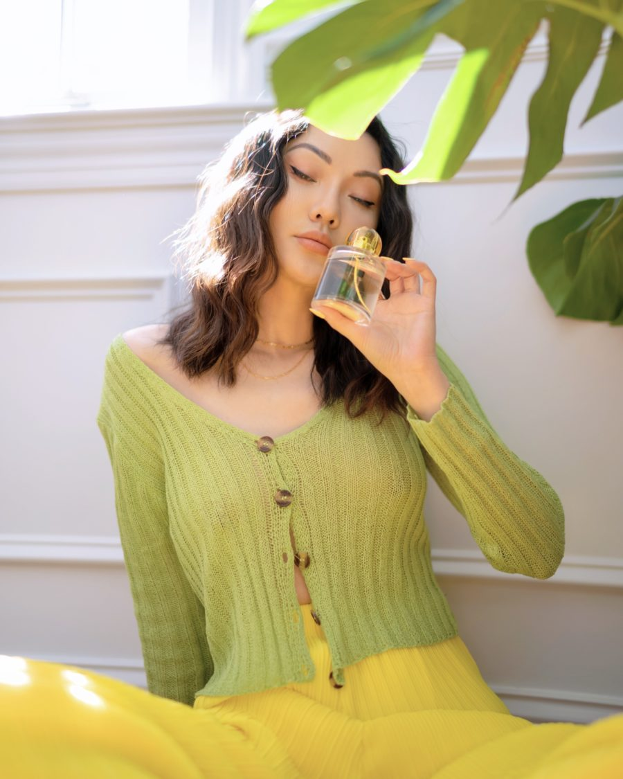 jessica wang wearing a green cardigan with yellow pants while sharing her favorite amazon home finds // Jessica Wang - Notjessfashion.com