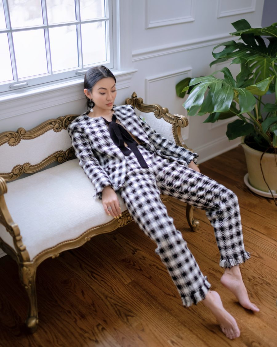 jessica wang wearing plaid blazer and pants while sharing casual spring suits for women // Jessica Wang - Notjessfashion.com