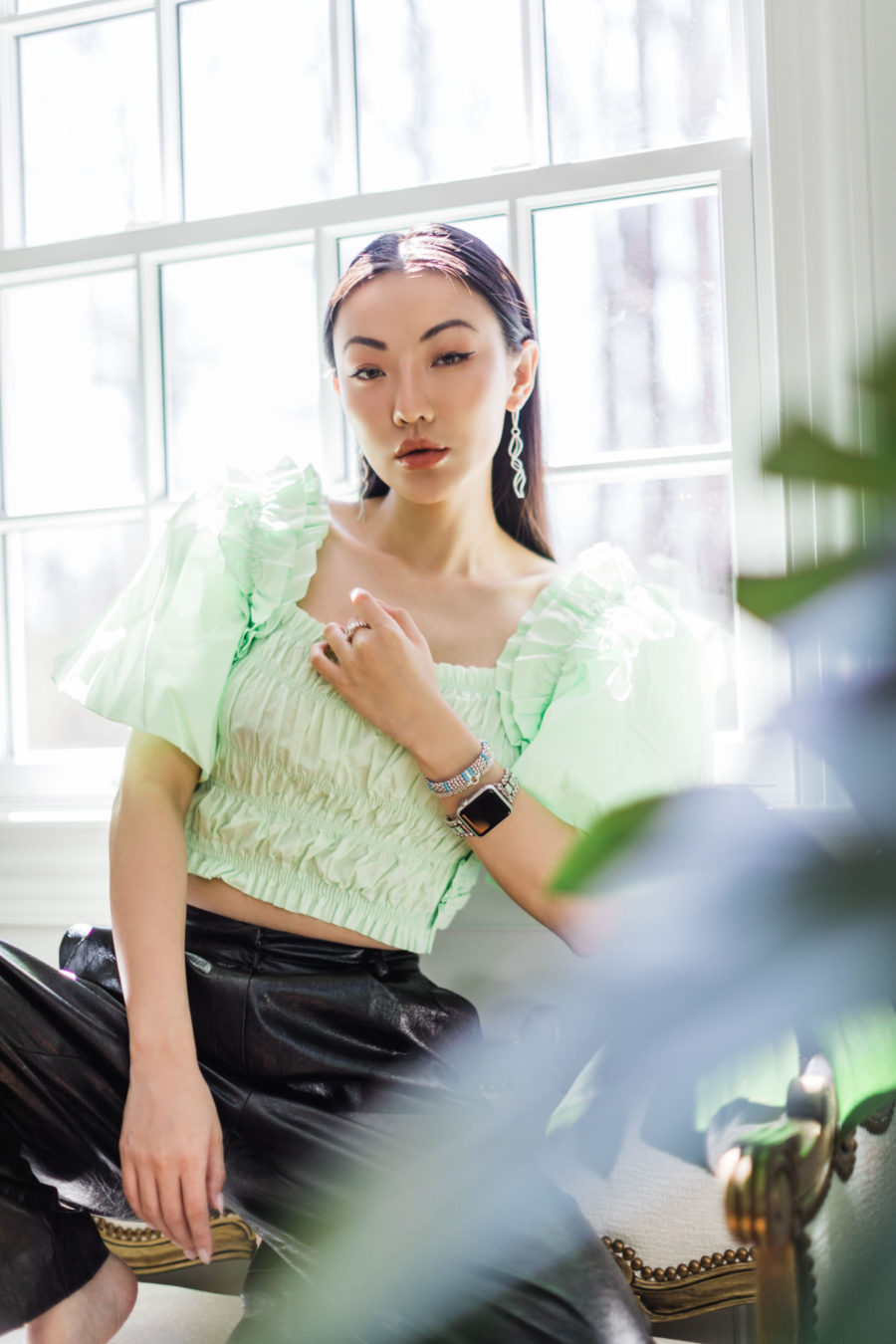 jessica wang spring outfits featuring a green puff sleeve top and leather pants // Jessica Wang - Notjessfashion.com