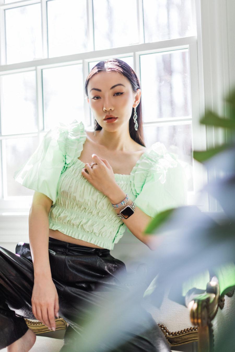 jessica wang wearing a luxury apple watch band by lagos jewelry brand // Jessica Wang - Notjessfashion.com