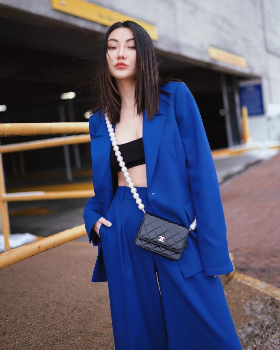 jessica wang wearing a bralette and blue suit set while sharing her must-have lingerie brands // Jessica Wang - Notjessfashion.com