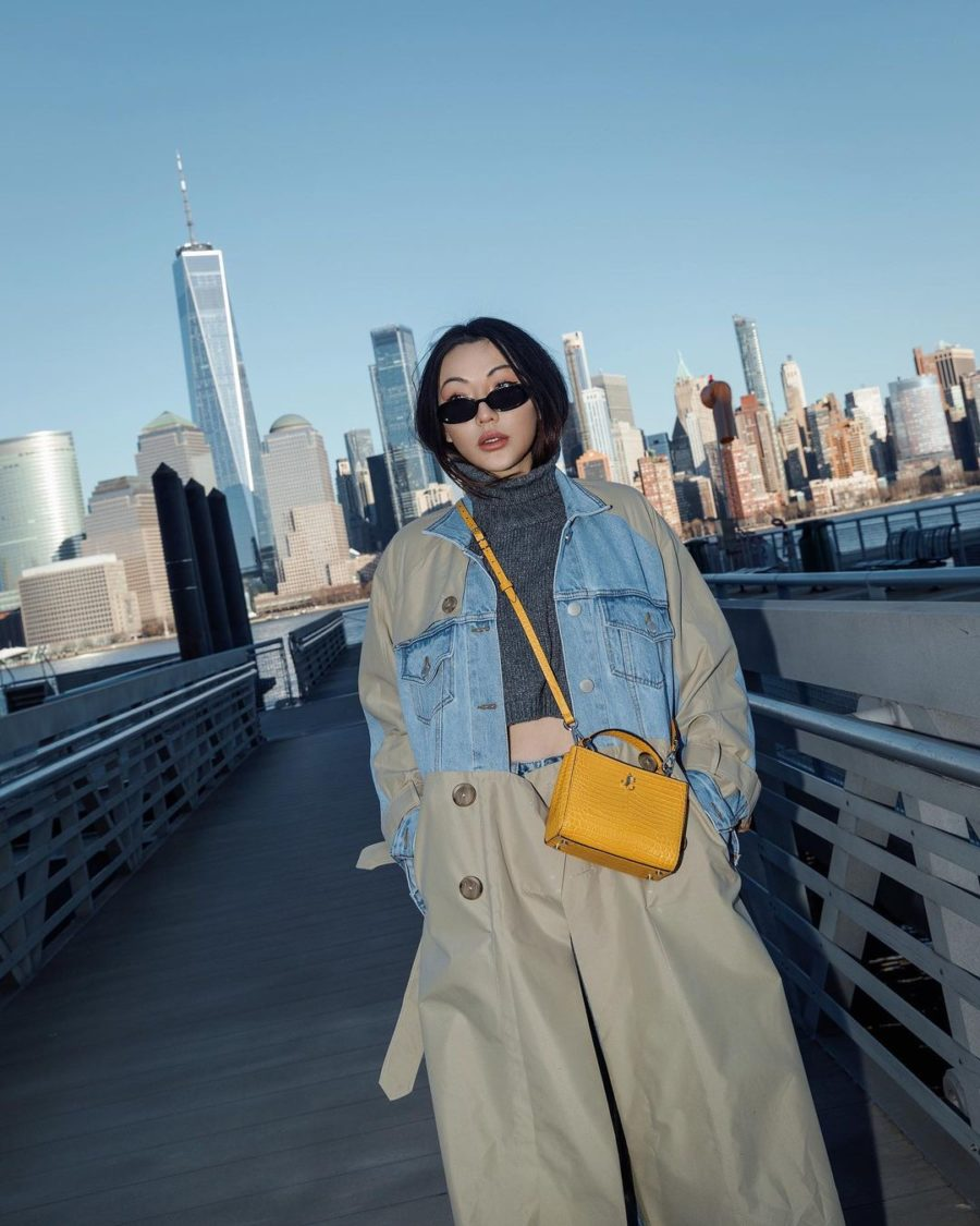 jessica wang wearing a two tone jacket, cropped sweater, and khaki pants with buttons while sharing contemporary sunglasses to wear as spring accessories for 2021, contemporary sunglasses // Jessica Wang - Notjessfashion.com