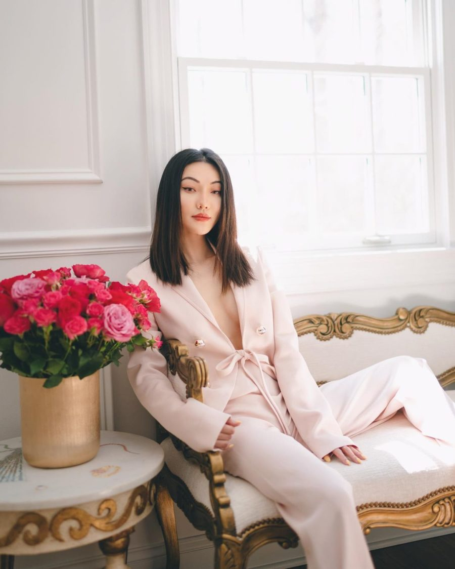 jessica wang wearing a pink pastel tie blazer with matching pants while sharing casual spring suits for women // Jessica Wang - Notjessfashion.com