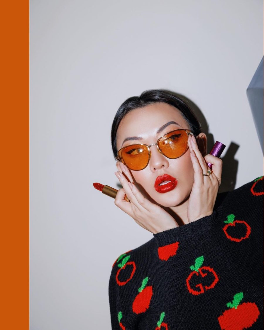 jessica wang wearing a black sweater while sharing what spring accessories to wear for 2021, lipstick, glossy lips // Jessica Wang - Notjessfashion.com