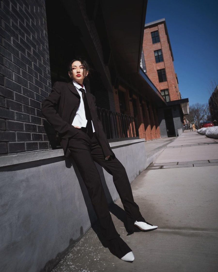 jessica wang wearing a black blazer, neck tie, white button up shirt, and black trousers while sharing her fall capsule wardrobe from the nordstrom anniversary sale // Jessica Wang - Notjessfashion.com