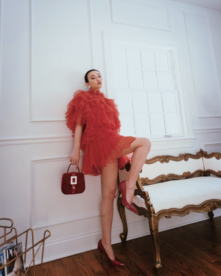 jessica wang wearing a red Alberta Ferreti ruffle dress and sharing instagram hacks for 2021 // Jessica Wang - Notjessfashion.com