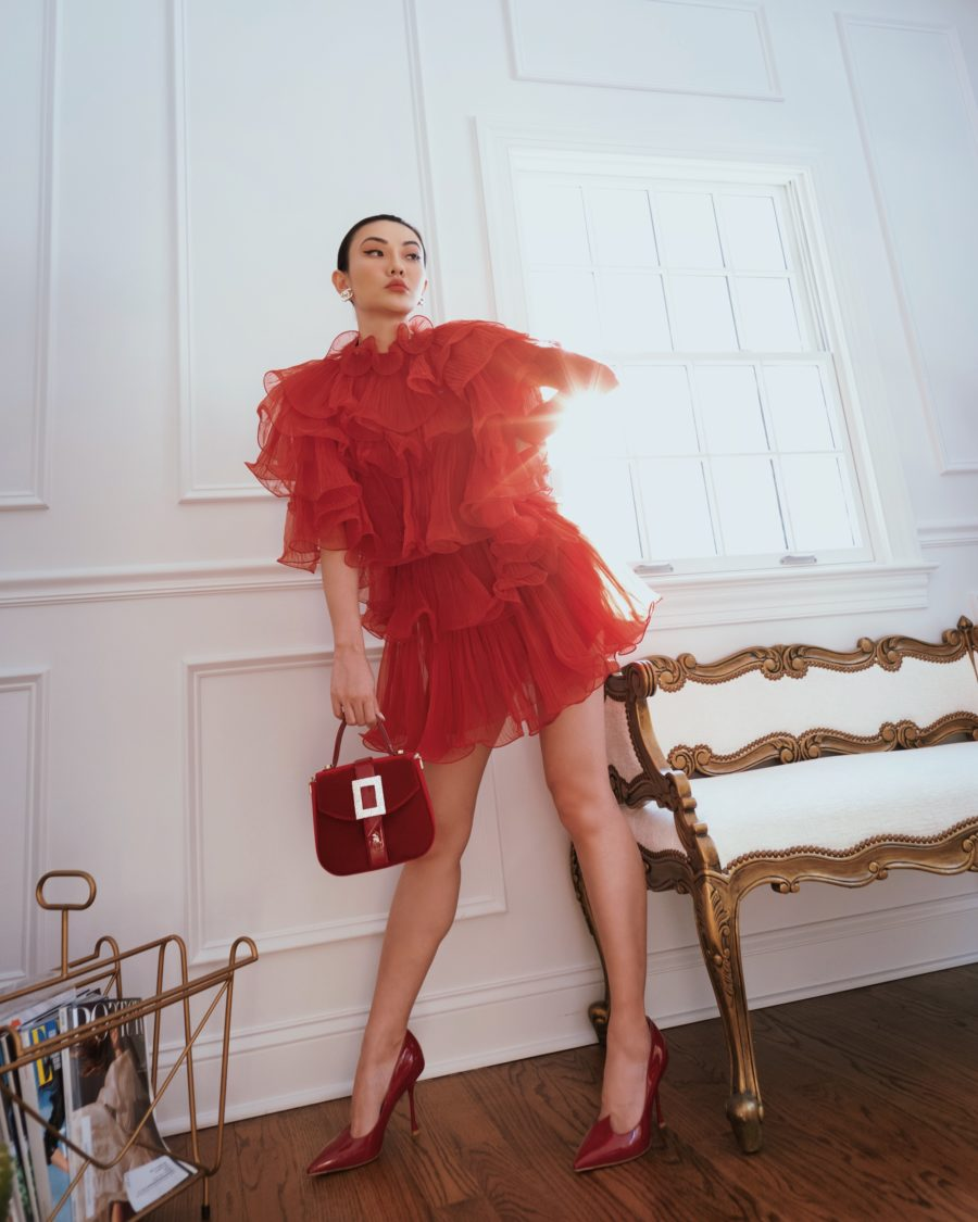 jessica wang wearing a red ruffle dress with a roger vivier handbag and sharing instagram hacks for 2021 // Jessica Wang - Notjessfashion.com