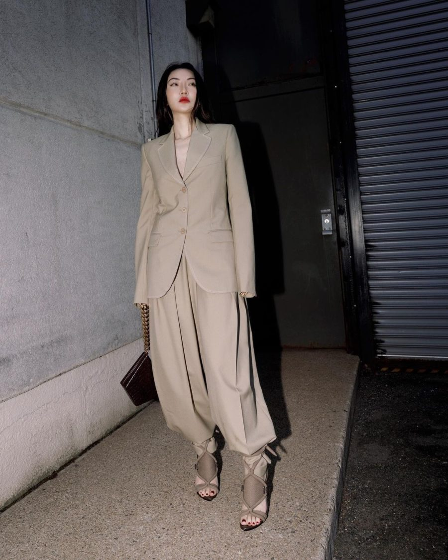 jessica wang wearing a beige blazer with matching pants and cut out sandals while sharing her fall capsule wardrobe from the nordstrom anniversary sale // Jessica Wang - Notjessfashion.com