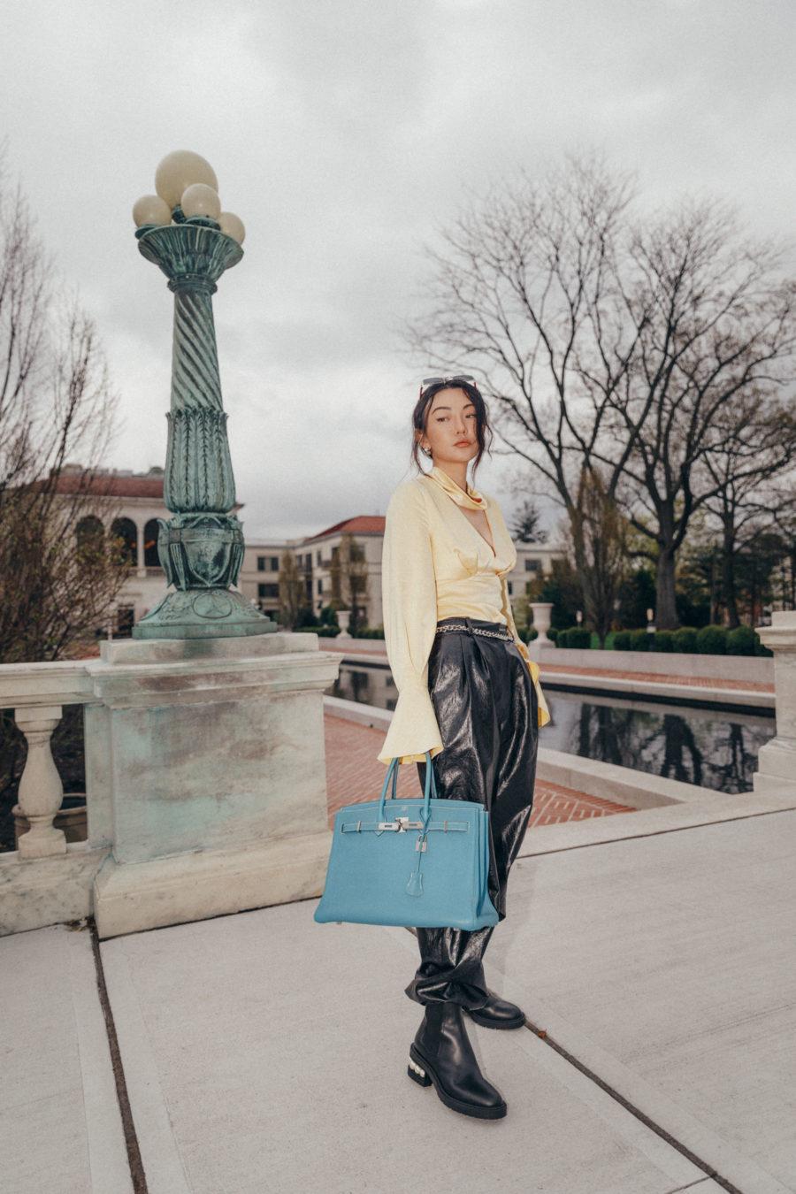 jessica wang carries a blue hermes birkin from her favorite designer sale // Jessica Wang - Notjessfashion.com