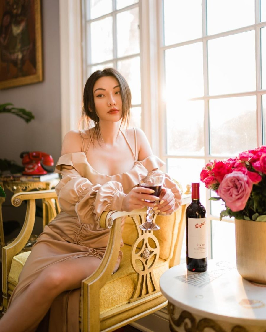 jessica wang wearing off the shoulder ruffle dress while sharing her must-have lingerie brands // Jessica Wang - Notjessfashion.com