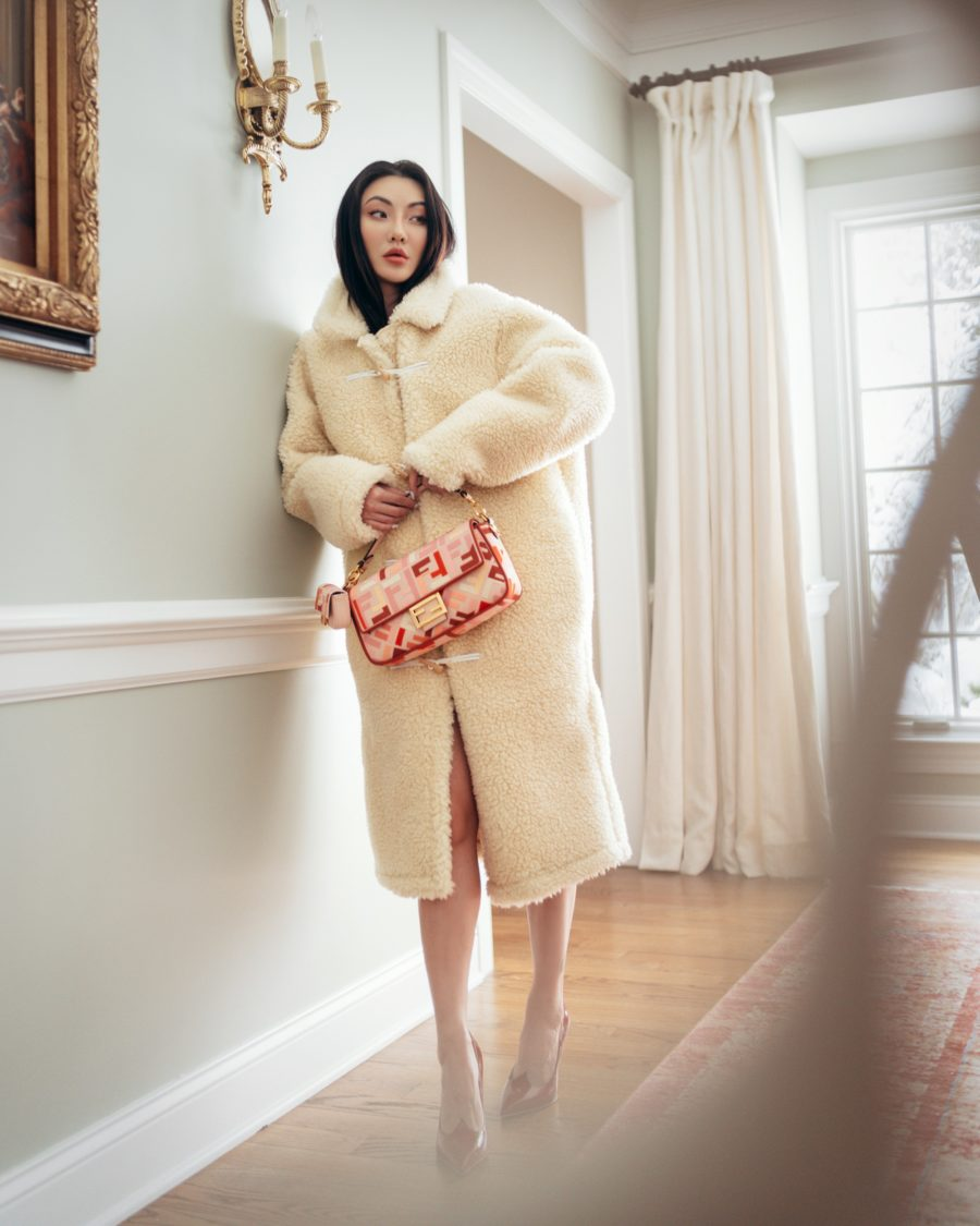 jessica wang wearing a cream teddy coat with a fendi bag while sharing her nordstrom anniversary sale 2021 picks // Jessica Wang - Notjessfashion.com