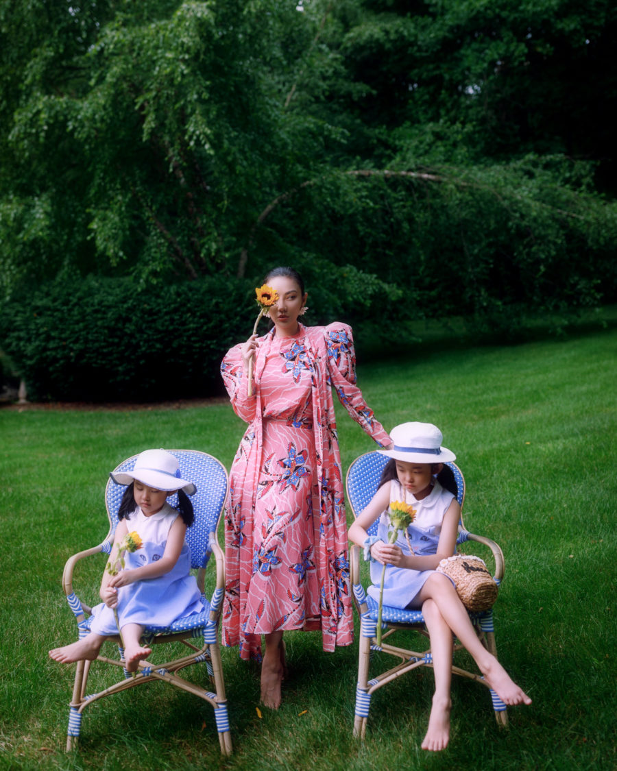 jessica wang wearing a pink printed dress and sharing perfect mother's day gifts with her daughters // Jessica Wang - Notjessfashion.com