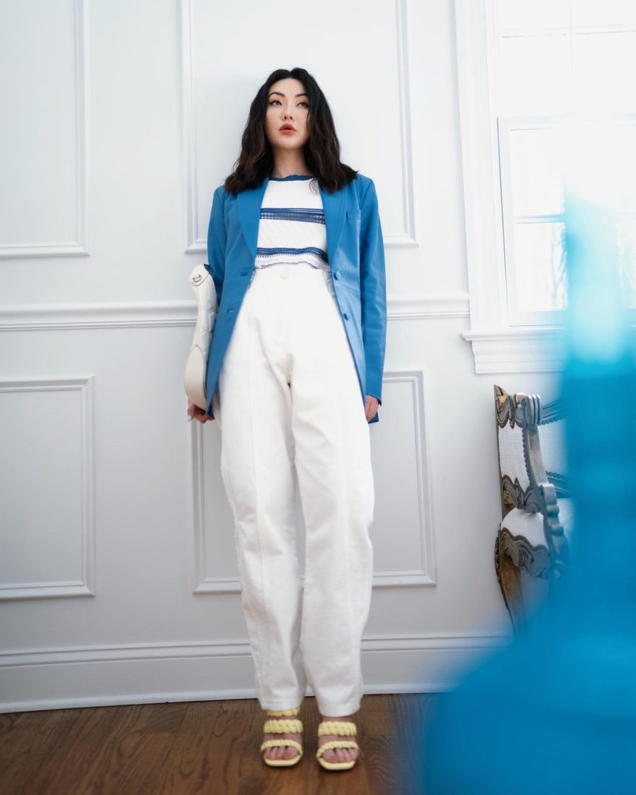 jessica wang wearing a blue blazer, striped shirt, and high waisted pants while sharing her favorite back to the office finds // Jessica Wang - Notjessfashion.com