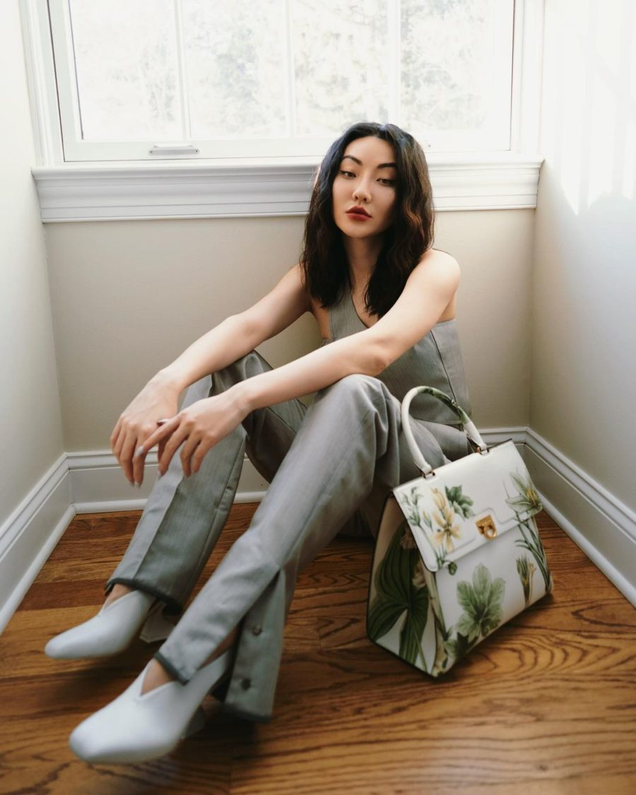 jessica wang wearing a gray tank top, split hem pants, and white pumps with a salvatore ferragamo trifolio handbag while sharing shoe essentials from the nordstrom sale // Jessica Wang - Notjessfashion.com