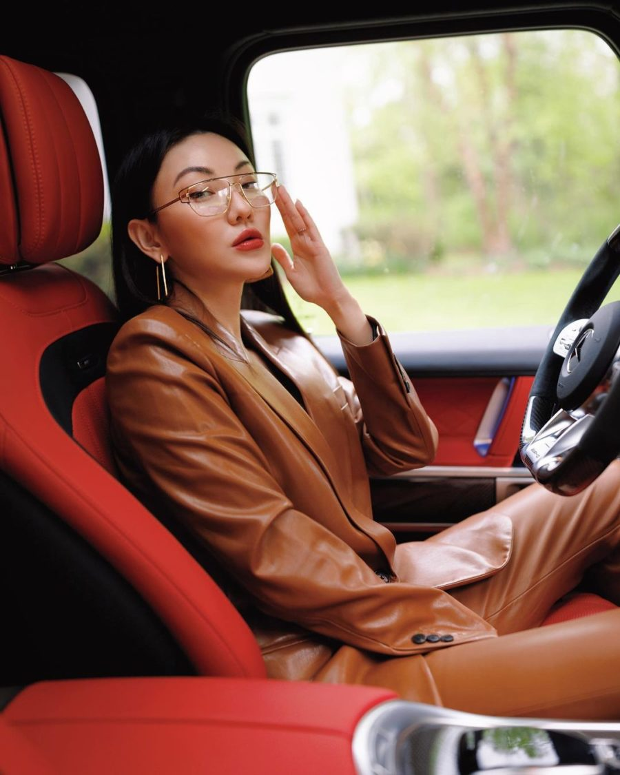 jessica wang wearing a brown leather blazer with matching pants and versace eye glasses // Jessica Wang - Notjessfashion.com