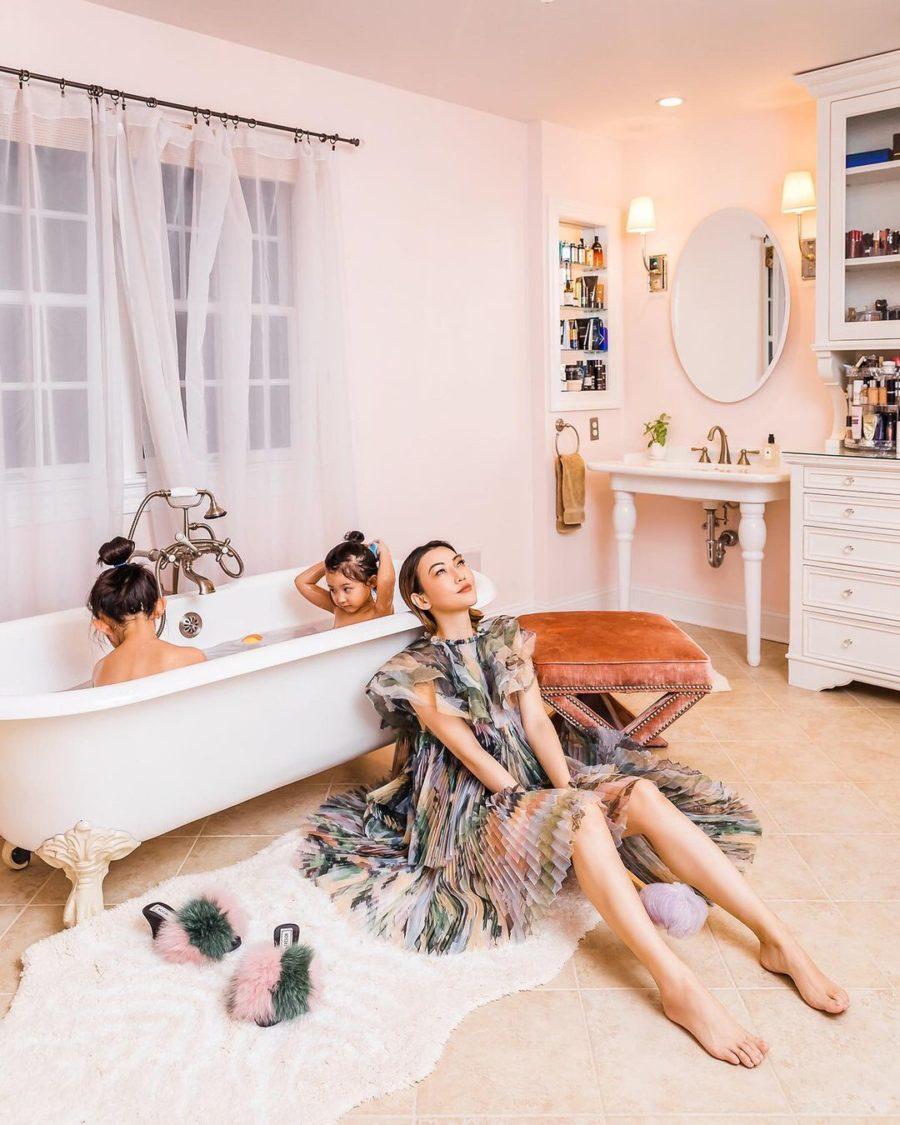 jessica wang wearing an aje pleated dress while sharing her favorite bathroom decor // Jessica Wang - Notjessfashion.com