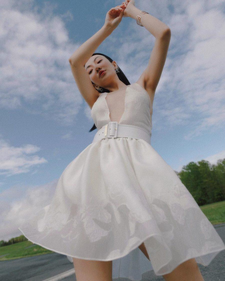 jessica wang wearing a short white wedding dress by emporio armani // Jessica Wang - Notjessfashion.com