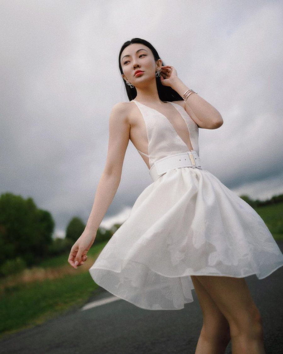 jessica wang wearing a white cut out dress while sharing memorial day outfits // Jessica Wang - Notjessfashion.com