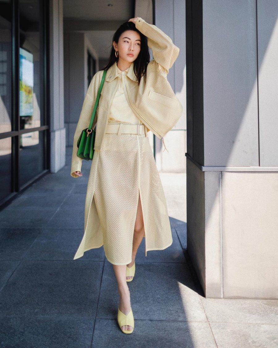 jessica wang wearing night out outfits featuring a yellow midi skirt // Jessica Wang - Notjessfashion.com