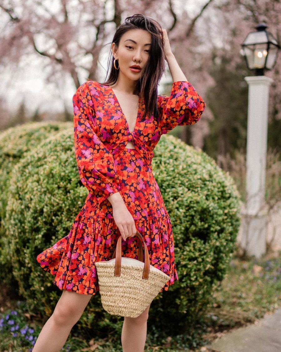 jessica wang vacation outfits featuring a floral print dress and straw bag // Jessica Wang - Notjessfashion.com