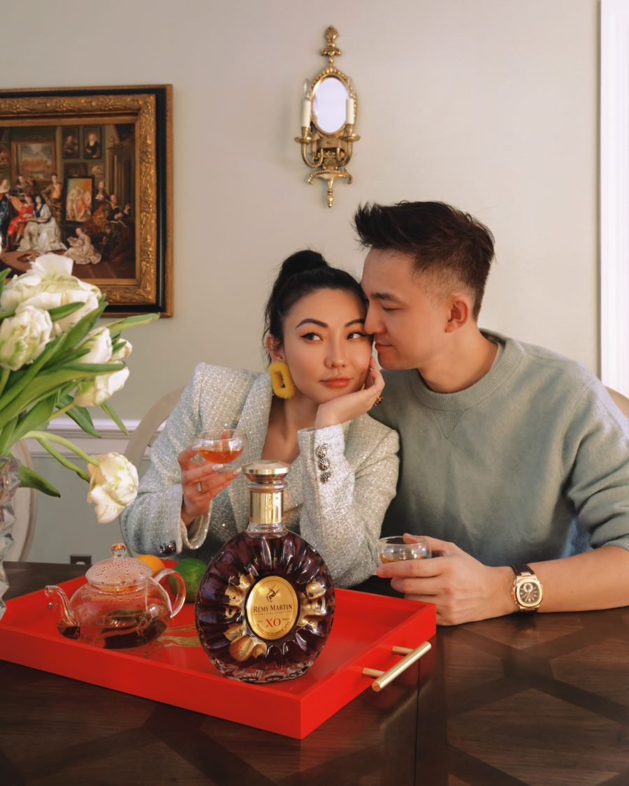 jessica wang and her husband drinking remy martin while sharing last minute father's day gifts
