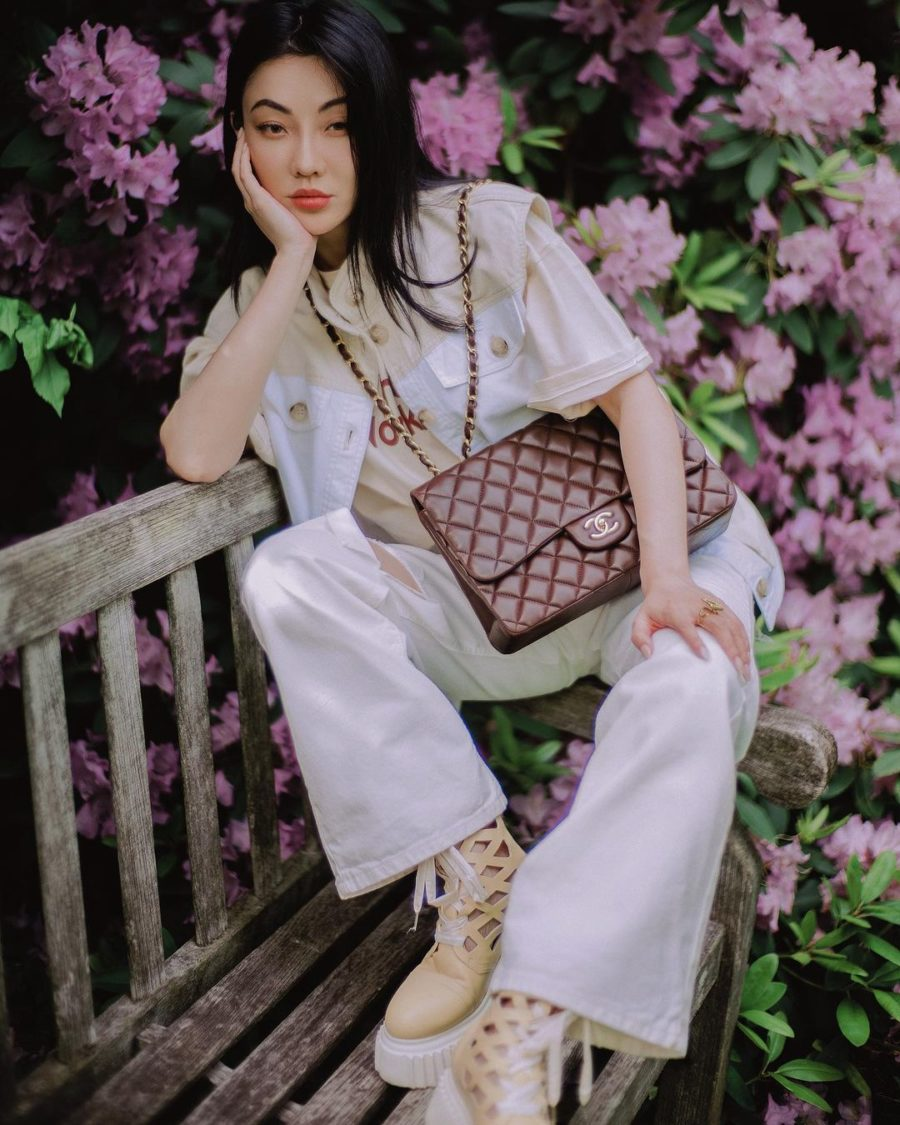 jessica wang wearing a baum und pferdgarten color block vest jacket, distressed jeans, and AGL cut out boots while sharing her favorite out of the box accessories to elevate your outfits // Jessica Wang - Notjessfashion.com