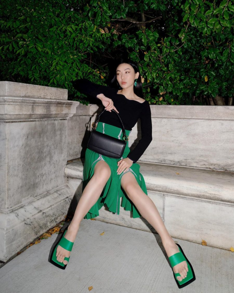 jessica wang wearing a black top and green midi skirt while sharing night out outfits to wear this summer // Jessica Wang - Notjessfashion.com