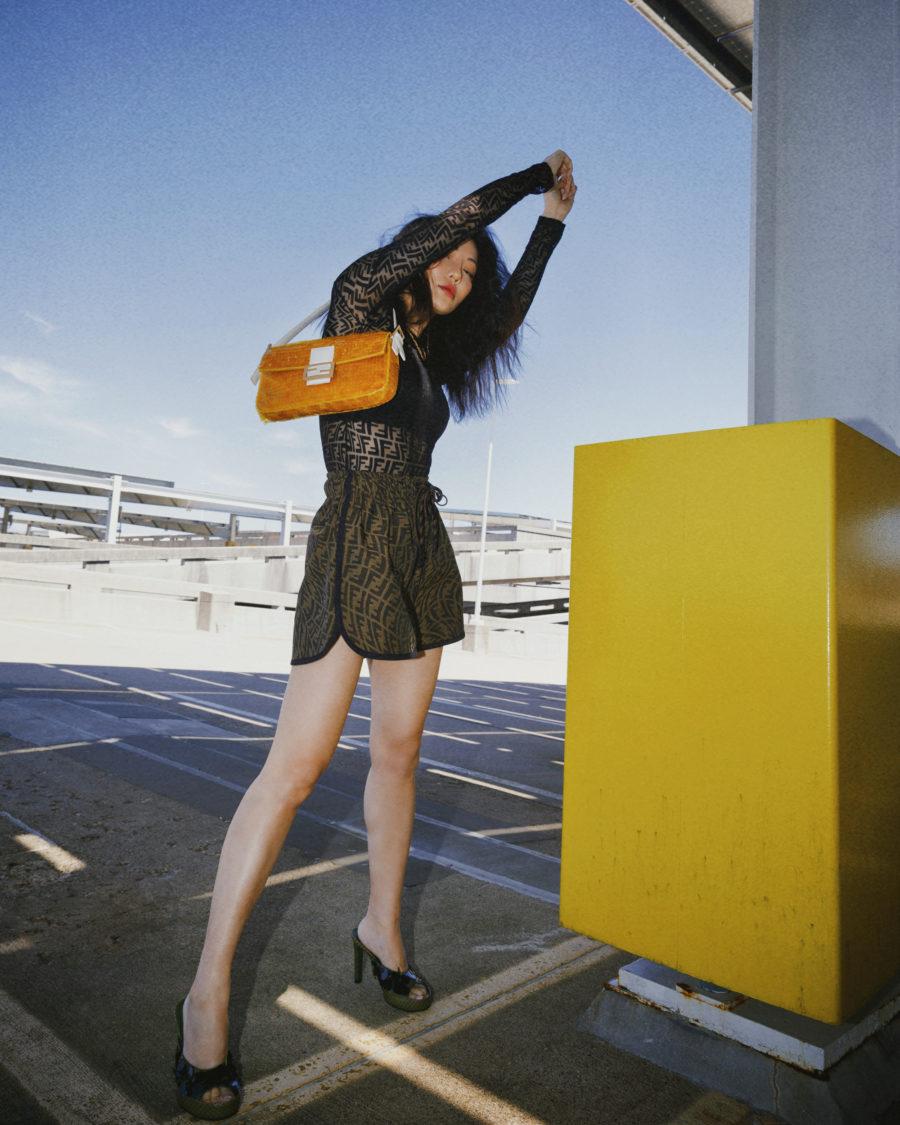jessica wang wearing a fendi mesh top and fendi shorts // Jessica Wang - Notjessfashion.com