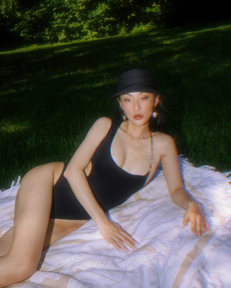 jessica wang wearing a black one piece swimsuit for july 4th // Jessica Wang - Notjessfashion.com