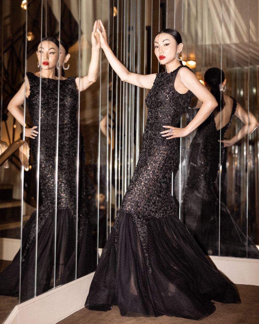 jessica wang wearing a black alberta ferretti fishtail gown with sequin // Jessica Wang - Notjessfashion.com