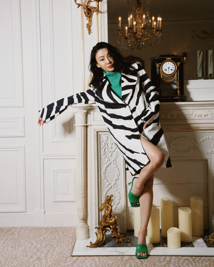 jessica wang wearing a zebra print jacket with green sandals while sharing after july 4 sales // Jessica Wang - Notjessfashion.com