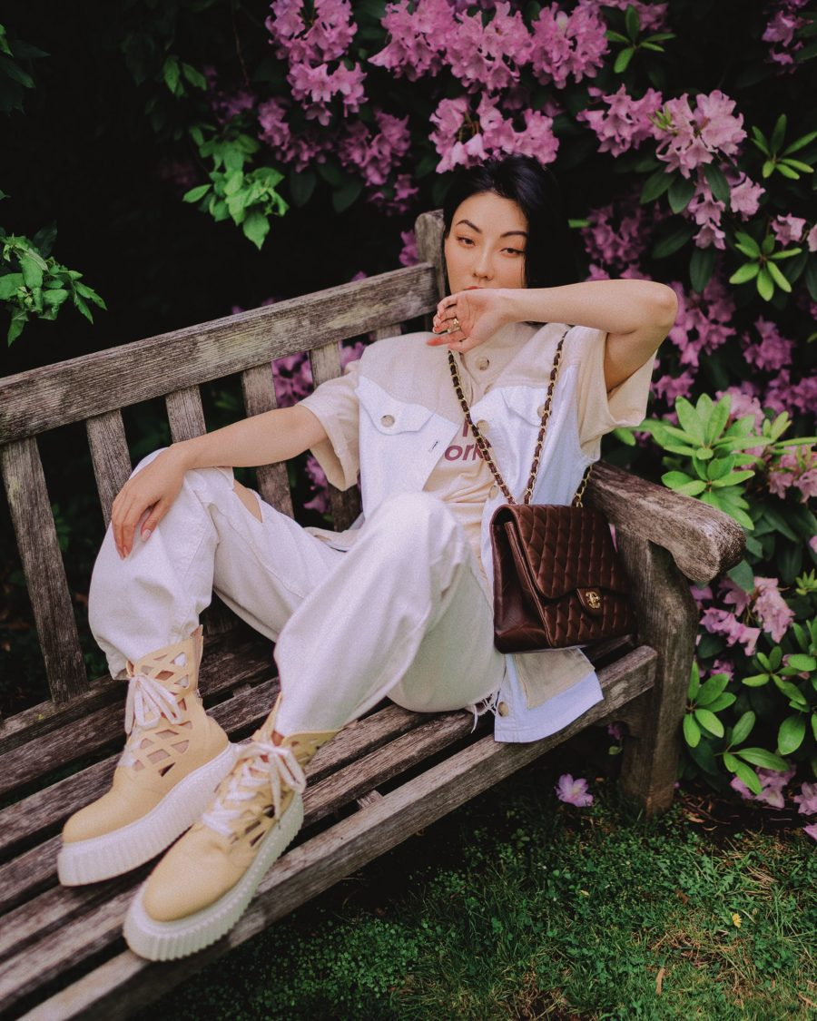 jessica wang wearing a baum und pferdgarten color block vest jacket, distressed jeans, and AGL cut out boots while sharing her favorite accessories // Jessica Wang - Notjessfashion.com
