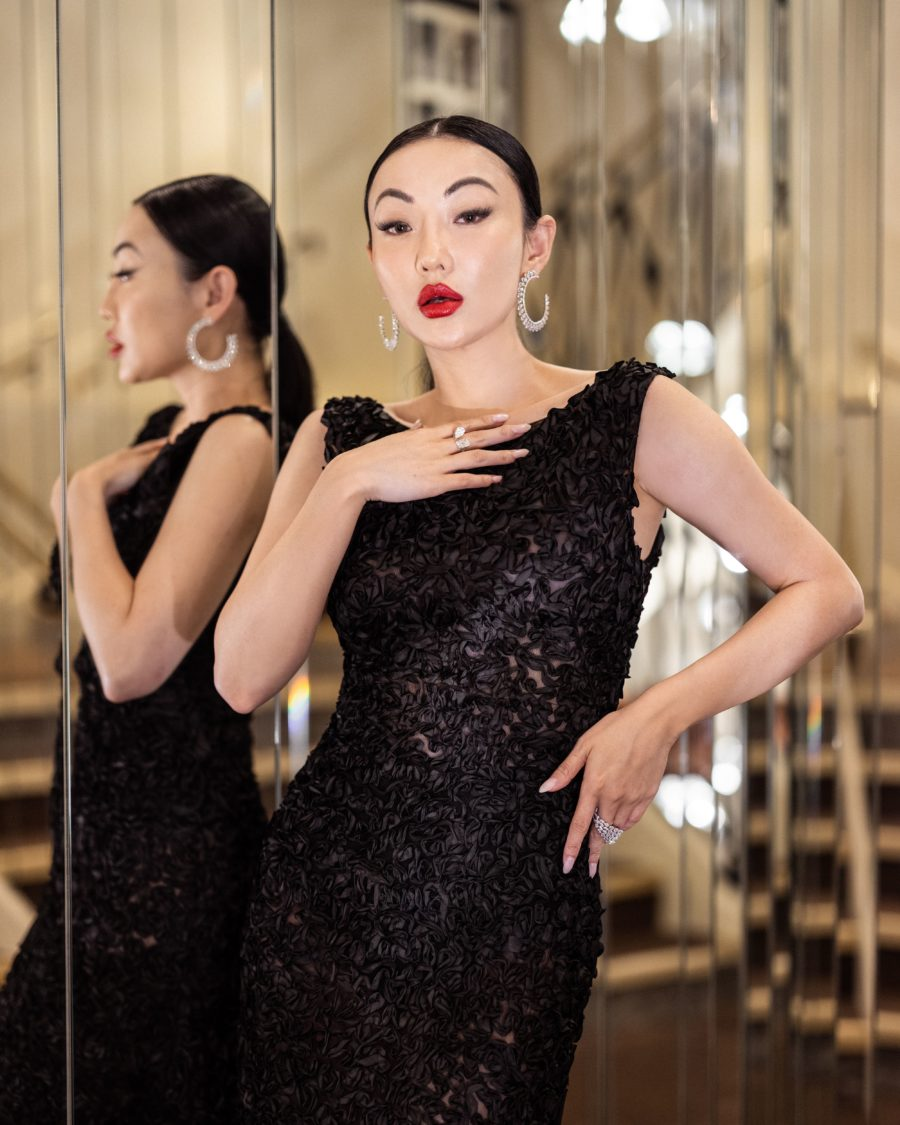 jessica wang wearing a black alberta ferretti mermaid gown with sequin at the cannes film festival 2021 // Jessica Wang - Notjessfashion.com
