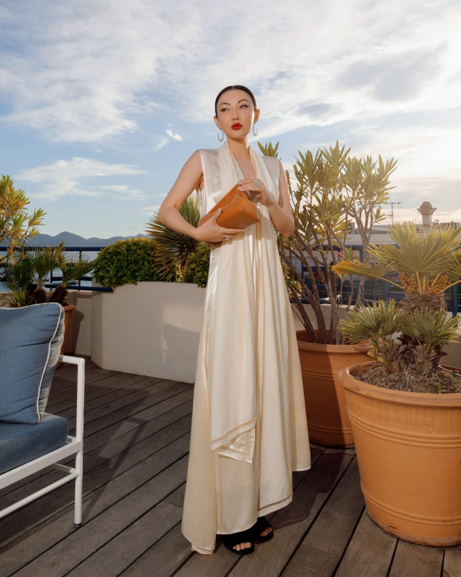 jessica wang wearing a white fendi satin dress with fendi first leather sandals and fendi first small leather bag at the cannes film festival 2021 // Jessica Wang - Notjessfashion.com