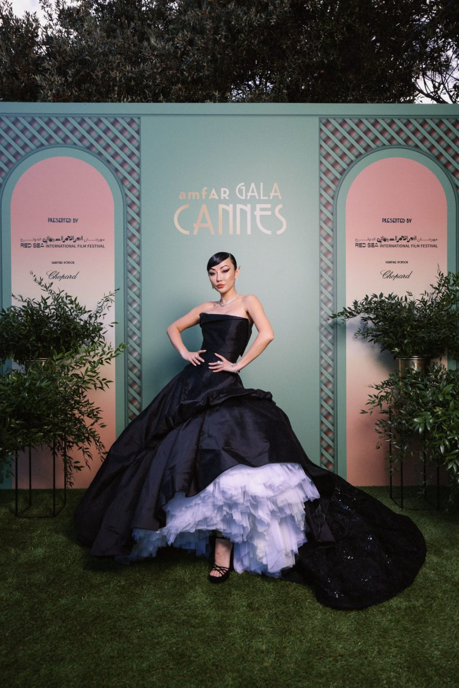 jessica wang wearing a black strapless, a line tulle dress featuring Nicolas Jebran at the cannes film festival 2021 // Jessica Wang - Notjessfashion.com