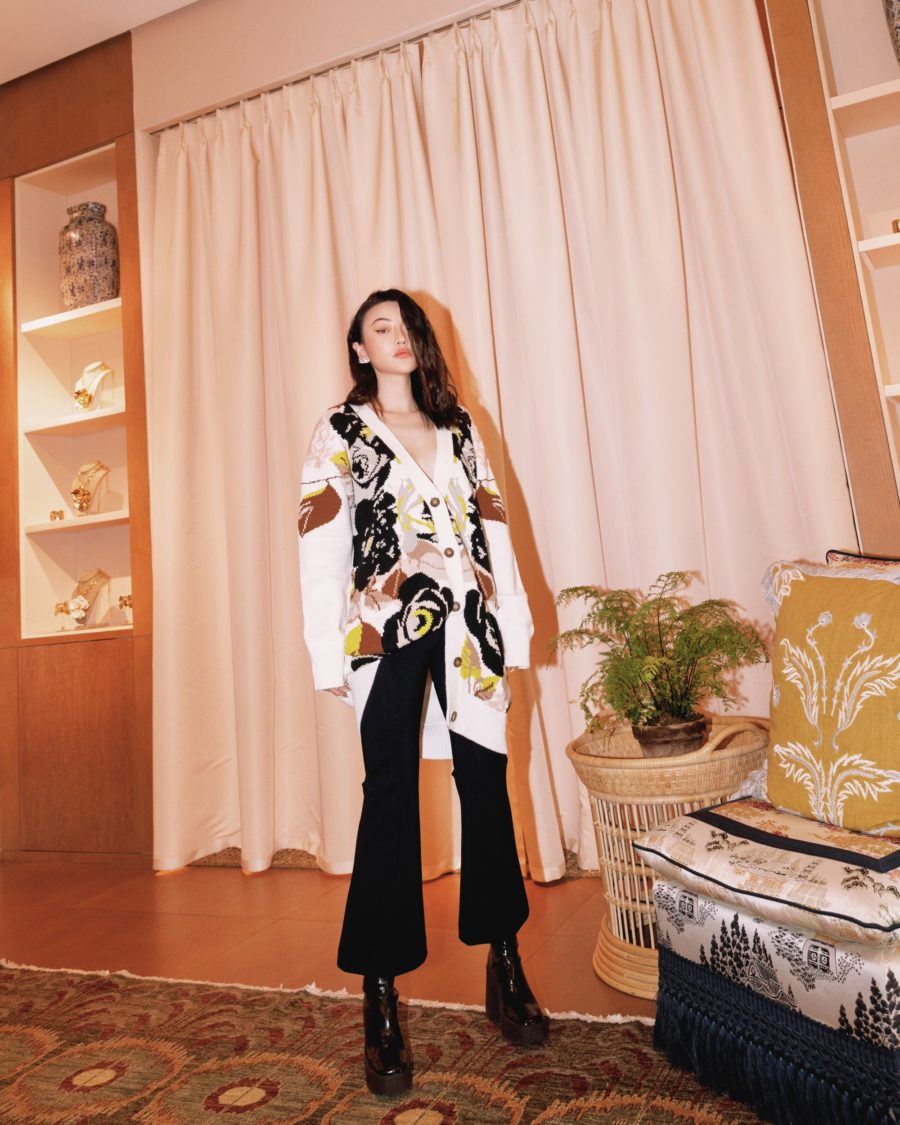 jessica wang wearing a cream oversized floral cardigan with her shoe essentials from the nordstrom anniversary sale // Jessica Wang - Notjessfashion.com