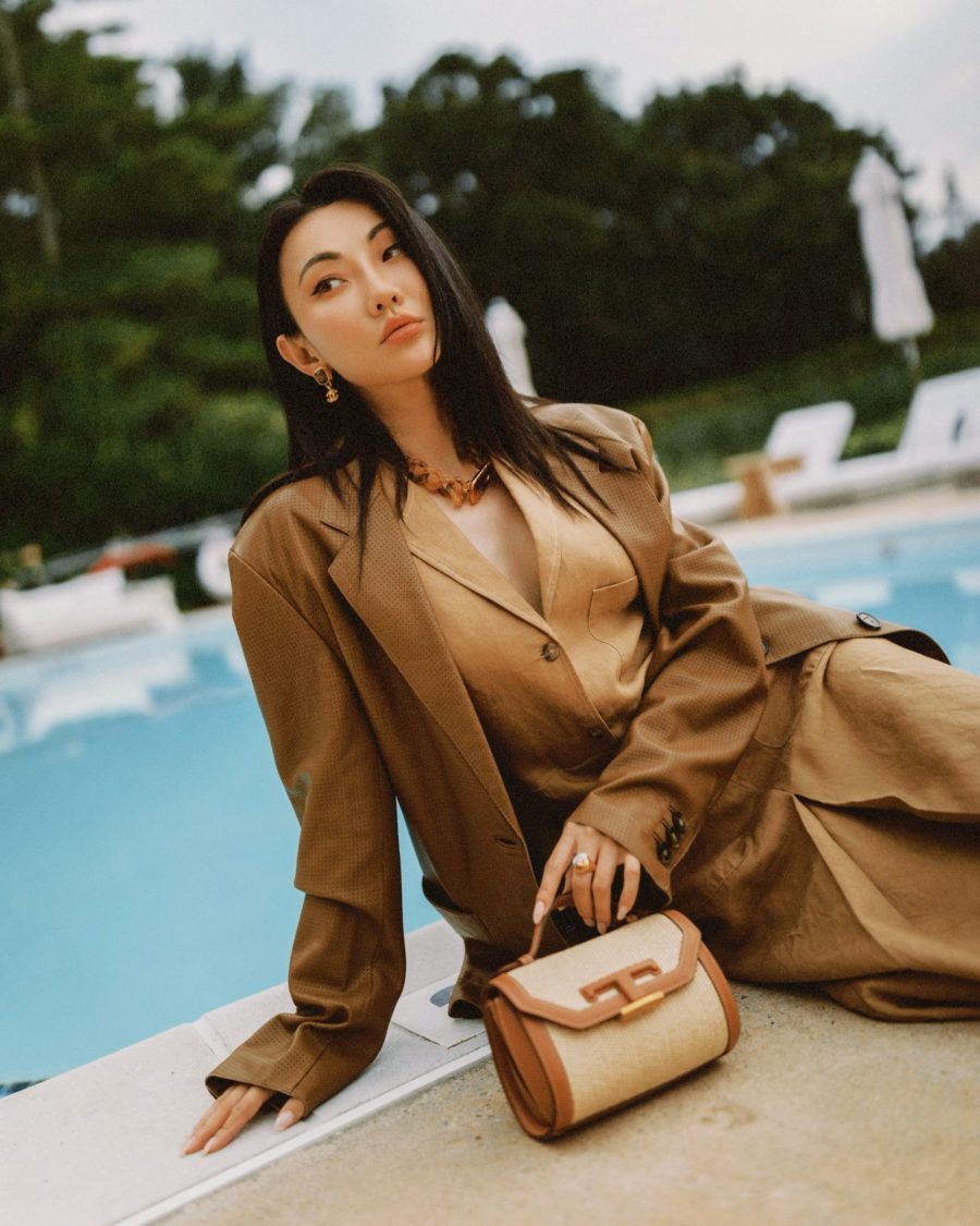 jessica wang wearing a back to office outfit featuring a tan blazer and a tan button up dress with a tods top handle bag in brown // Jessica Wang - Notjessfashion.com