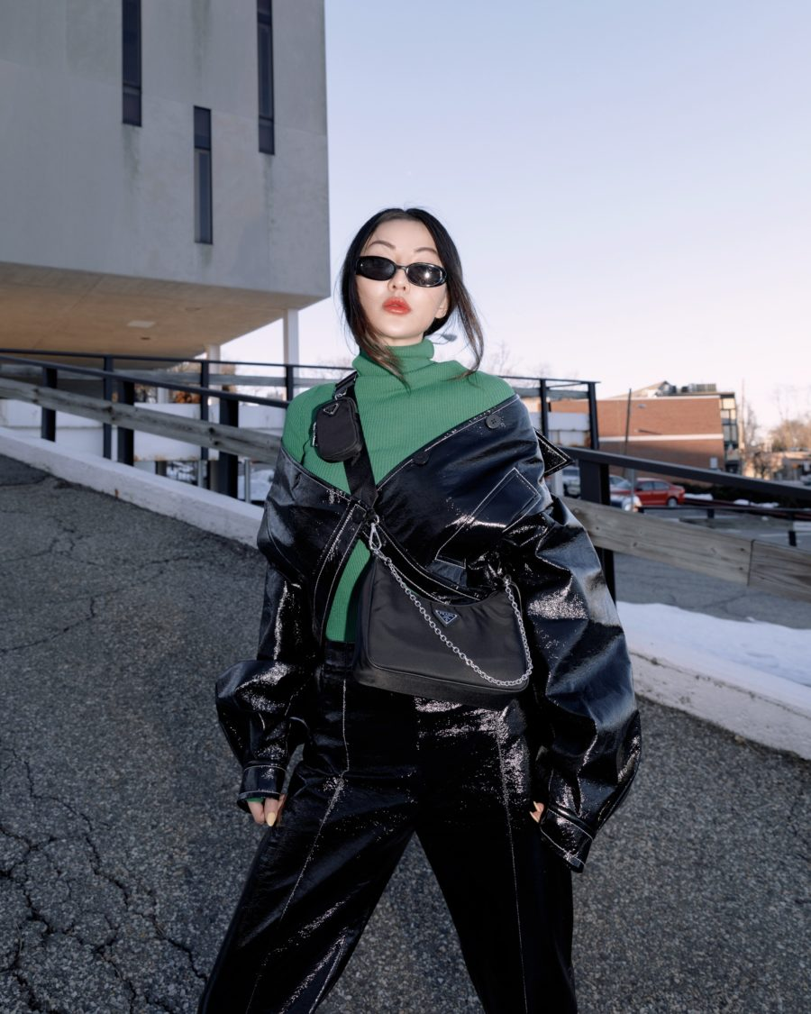 Jessica Wang wearing a Jessica Wang wearing fall and winter coats featuring leather jacket // Jessica Wang - Notjessfashion.com