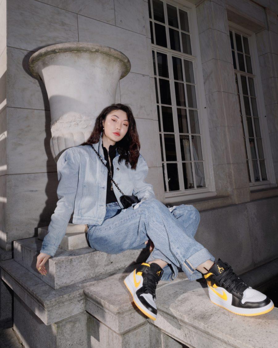 Jessica Wang wearing fall and winter coats featuring an oversized denim jacket // Jessica Wang - Notjessfashion.com