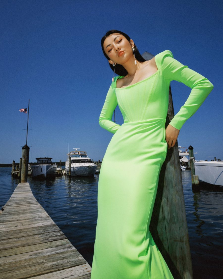 jessica wang wearing a neon green Brant Strong-Shoulder Corset Gown featuring alex perry, crystal fringe sandals, and pearl drop earrings while sharing TikTok fashion trends // Jessica Wang - Notjessfashion.com