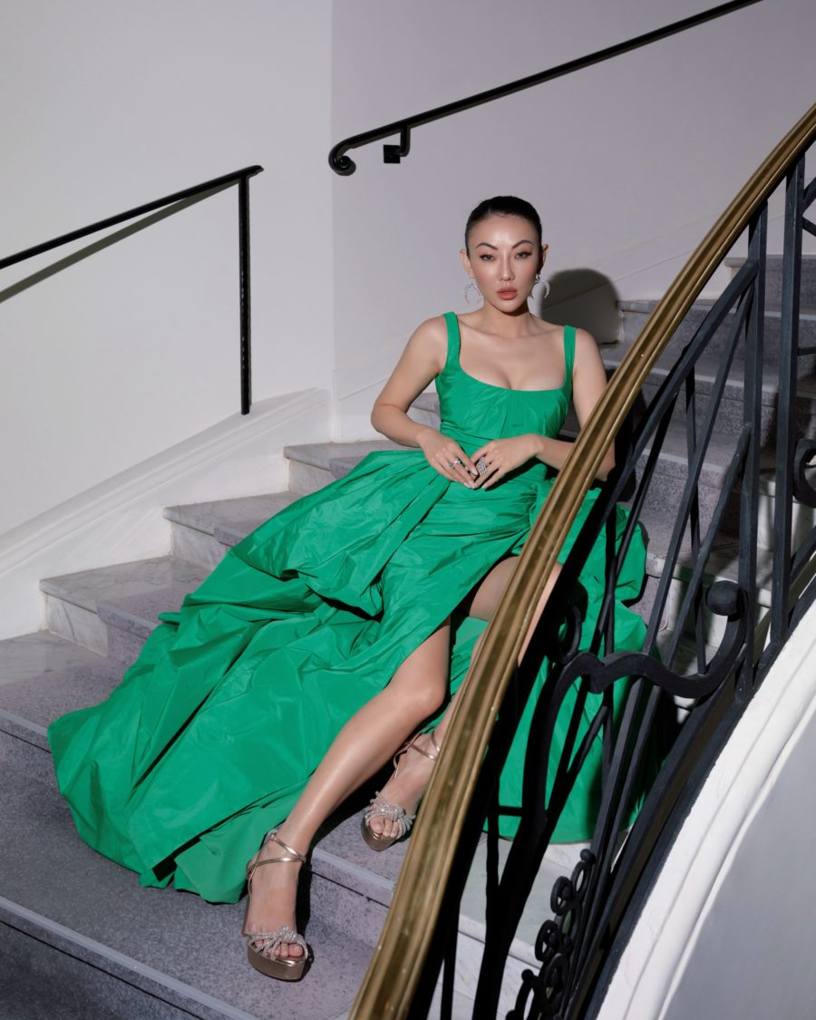 Jessica wang wearing a green draped taffeta gown with overskirt featuring zuhair murad, aquazzure knotted sandals, and messika jewelry while sharing her dermstore anniversary sale picks // Jessica Wang - Notjessfashion.com