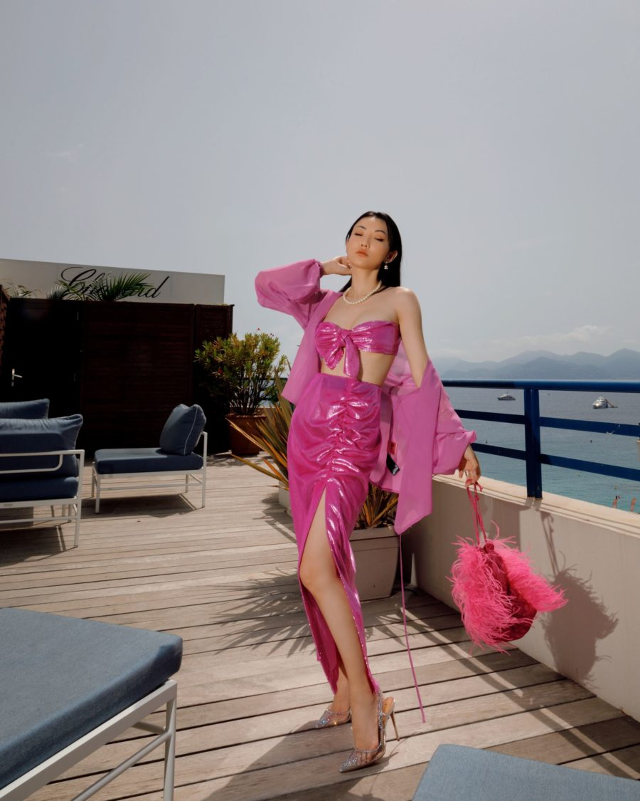 Jessica Wang wearing spring trends from fashion week featuring a pearl necklace, slingback pumps and a monochromatic pink outfit // Jessica Wang - Notjessfashion.com