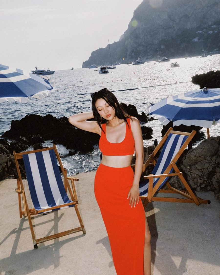 jessica wang wearing a chili red matching set while sharing her favorite end of summer outfits // Jessica Wang - Notjessfashion.com